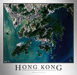 Aerial Image Satellite Map of Hong Kong Poster