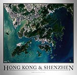 Aerial Image Satellite Map of Hong Kong Shenzhen Poster