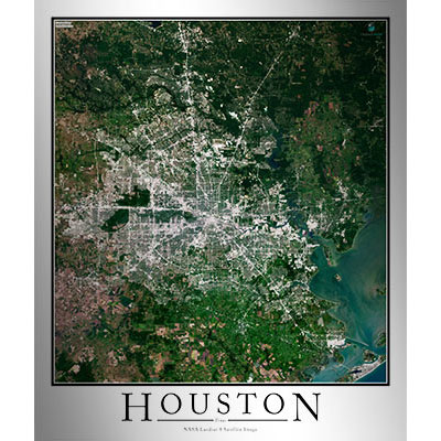 Houston TX Area Satellite Map Print Aerial Image Poster - Satellite map of texas