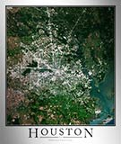 Aerial Image Satellite Map of Houston Area Poster