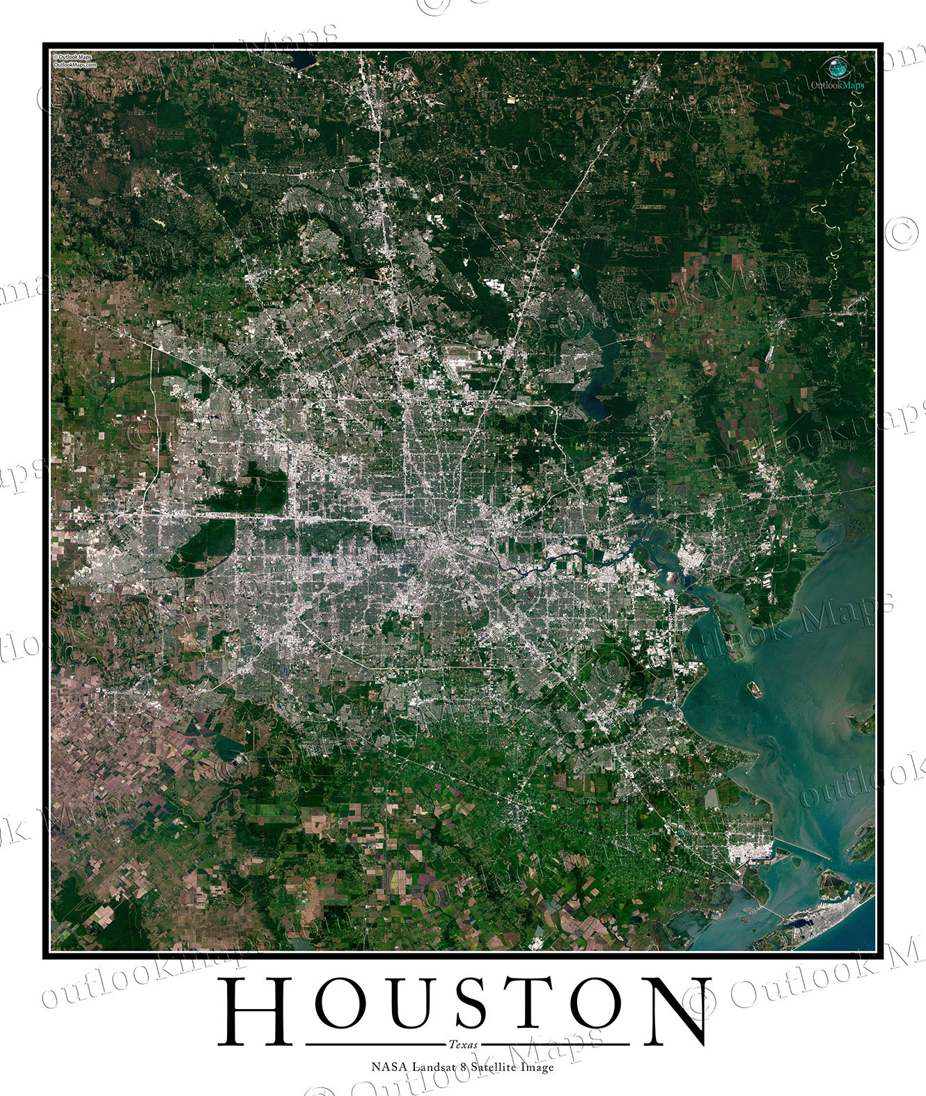Houston TX Area Satellite Map Print Aerial Image Poster