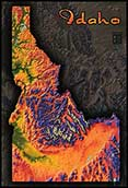 Topographic Idaho Physical Wall Map