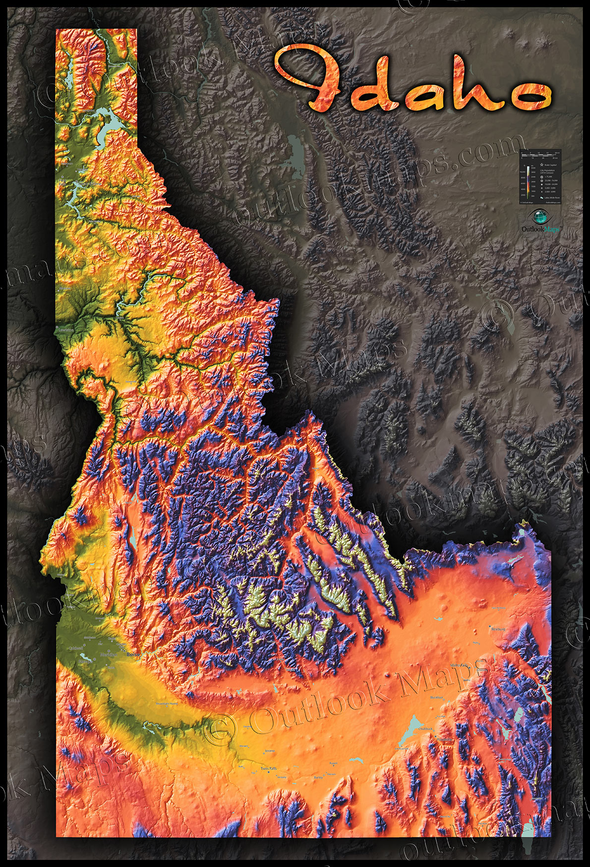 Colorful Idaho Map | Physical Topography of Rocky Mountains