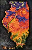 Topographic Illinois Physical Wall Map