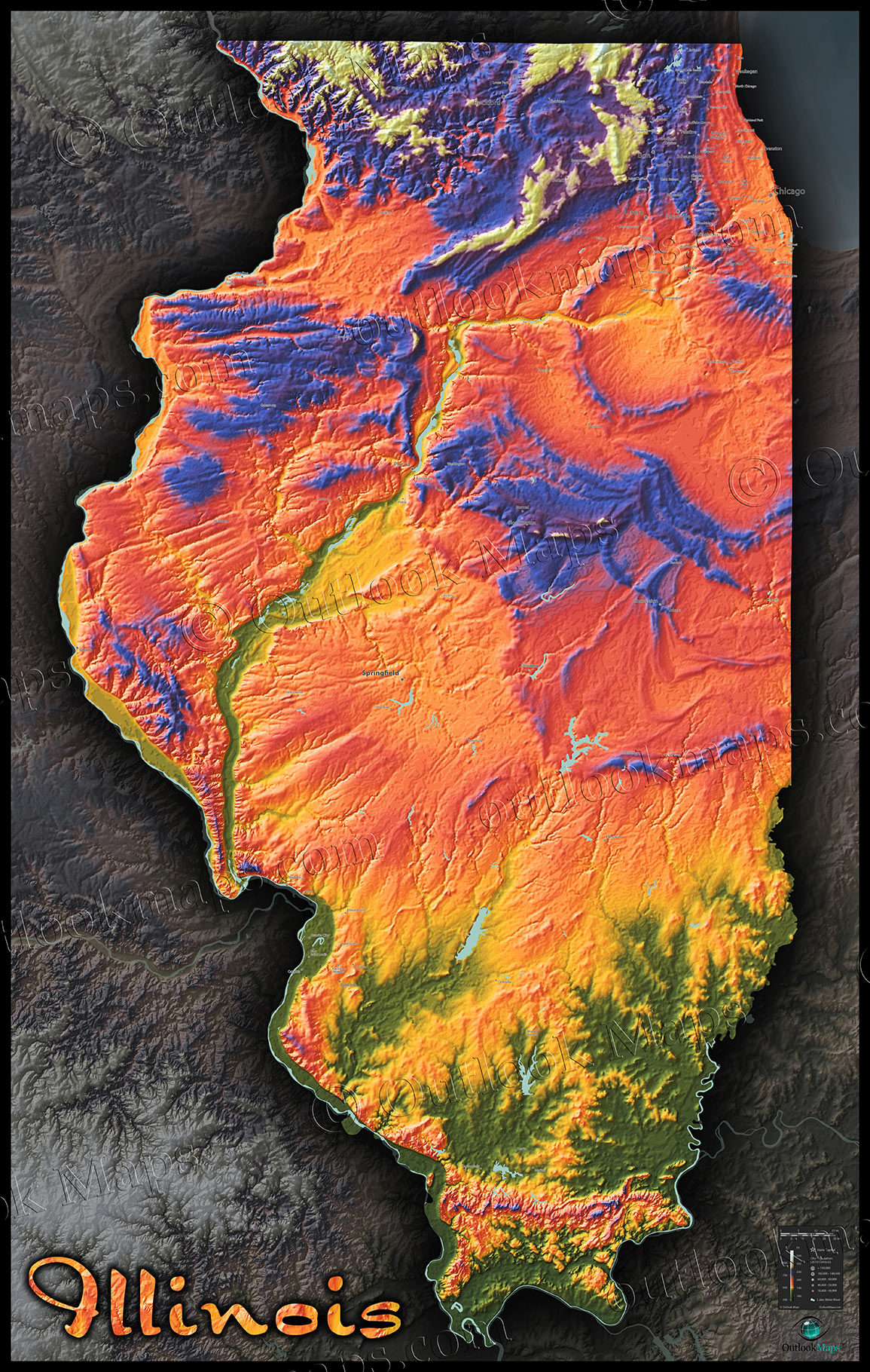Map Of Illinois Natural Features Cool D Topography - 3d topographical map of us