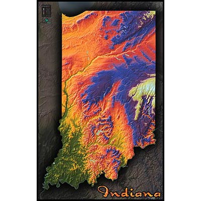 Indiana Topographic Wall Map Colorful Style Of Physical Terrain