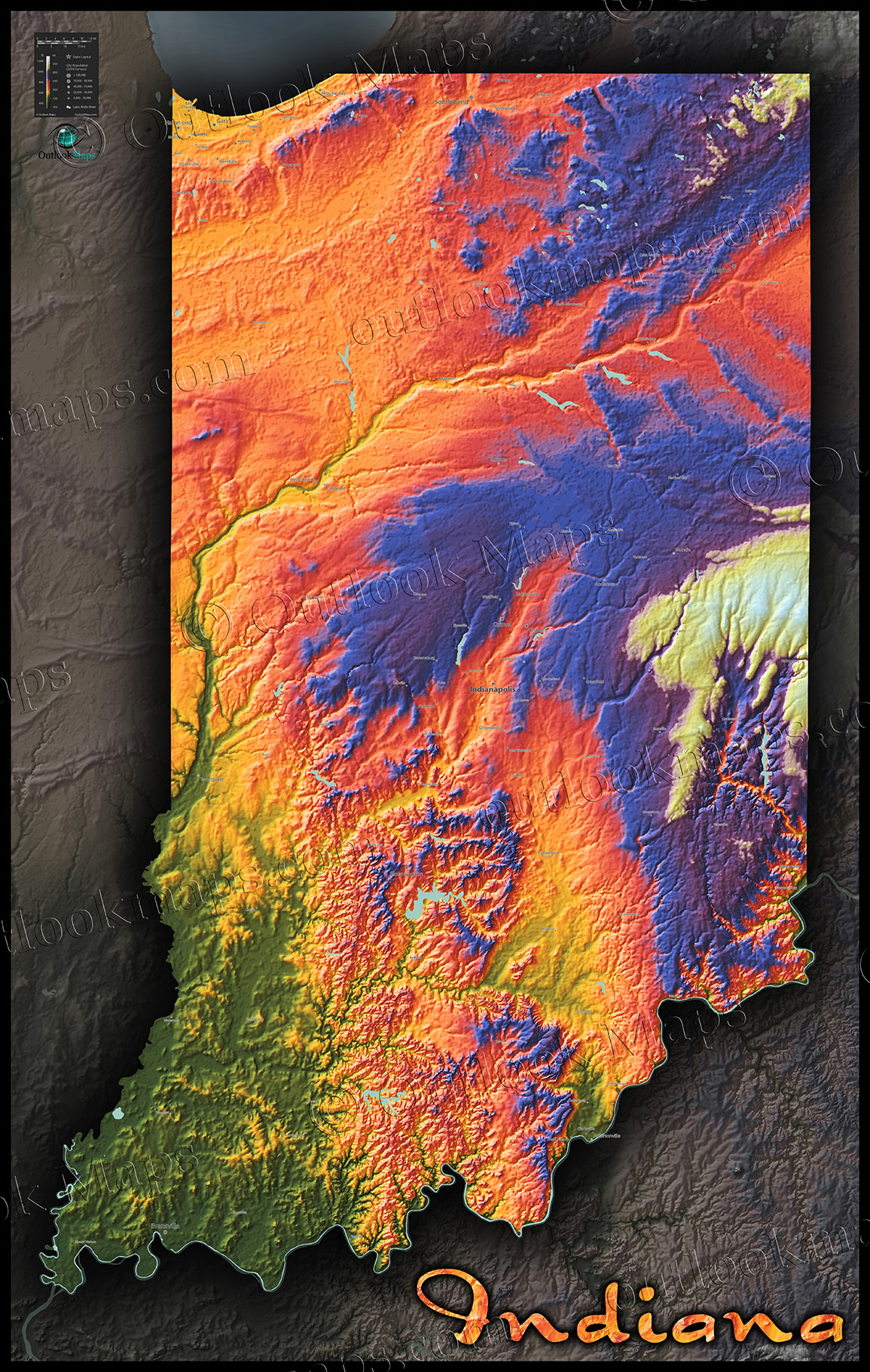 Indiana Topographic Wall Map Colorful Style Of Physical Terrain - Indiana physical map