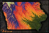 Topographic Iowa Physical Wall Map
