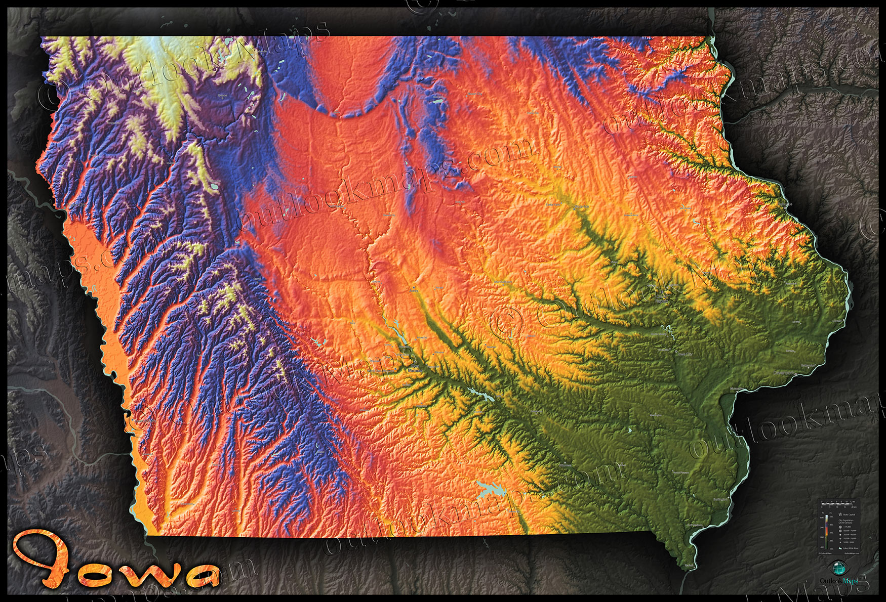 Colorful Iowa Topography Map  Bold Looking Physical Terrain