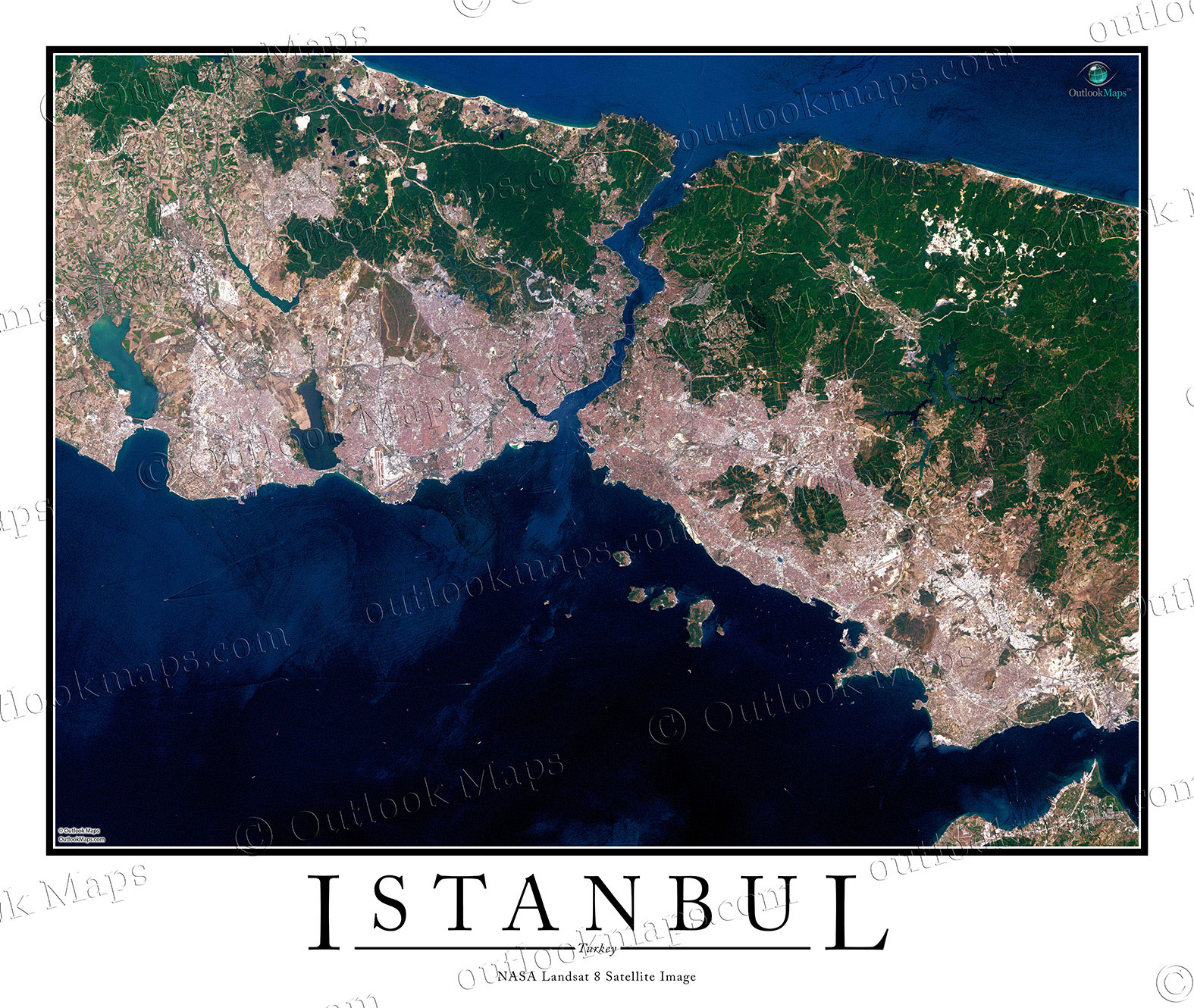 Sattelite Map Of World.Istanbul Turkey Satellite Map Print Aerial Image Poster