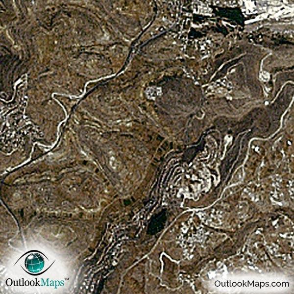 Jerusalem Israel Satellite Map Print Aerial Image Poster