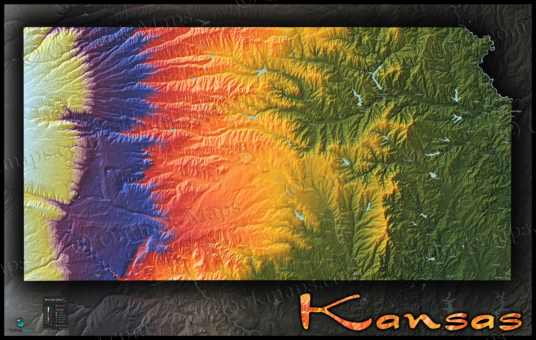Kansas Vibrant Topo Map Of Physical Landscape - Topographical map eastern us