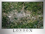 Aerial Image Satellite Map of London Poster