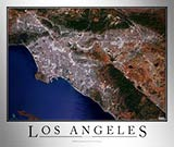 Aerial Image Satellite Map of Los Angeles Area Poster