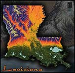 Physical Wall Map of Louisiana Topography