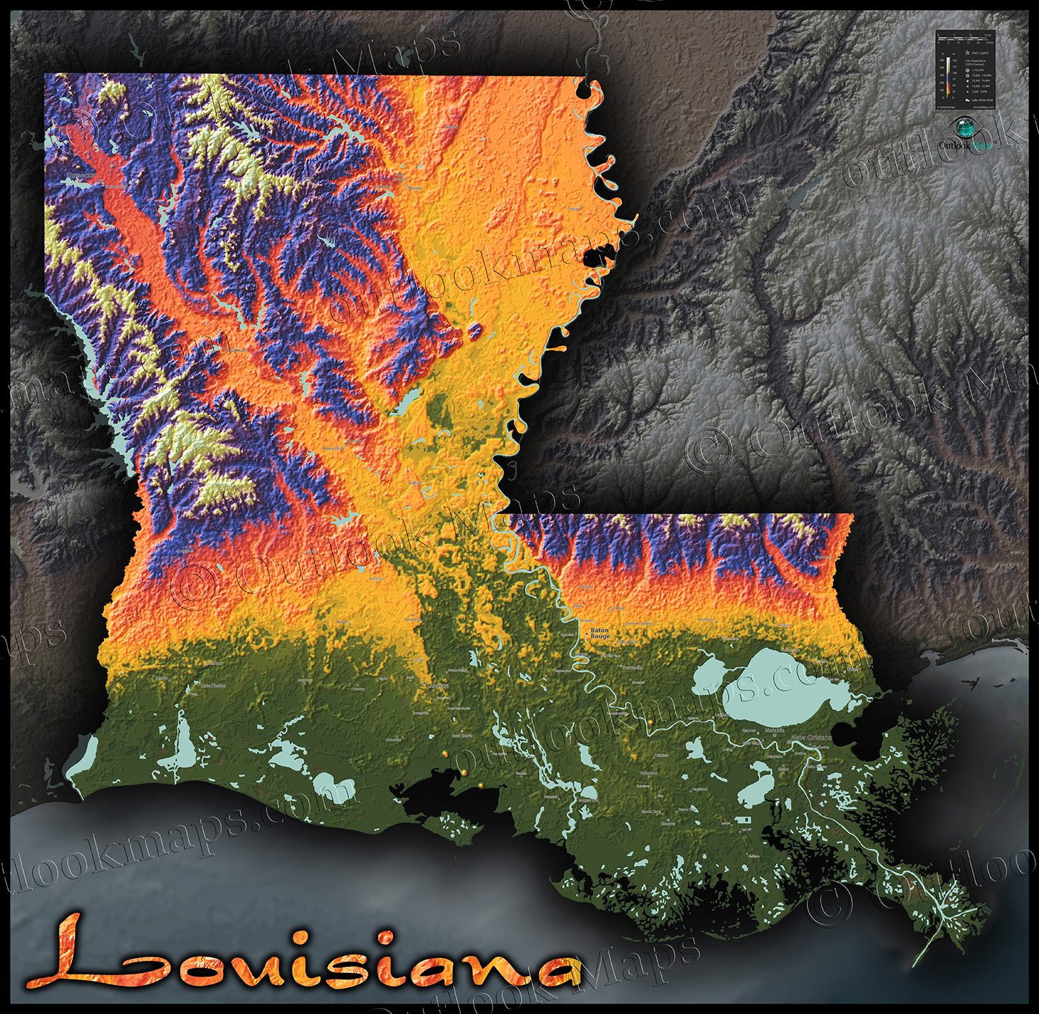 Louisiana Physical Map Colorful D Terrain Topography - Lousiana map