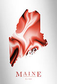 Artistic Poster of Maine Map