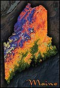 Topographic Physical Wall Map of Maine