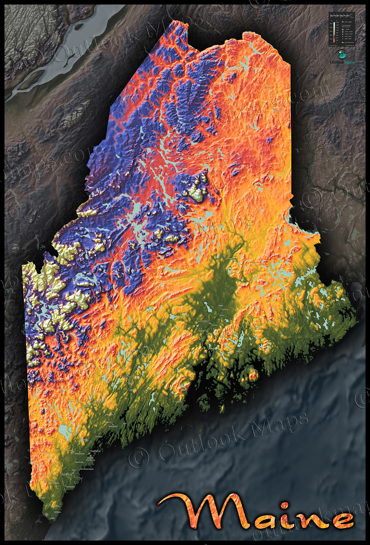 Topography Map Of Maine.Maine Topography State Map 3d Colorful Physical Terrain