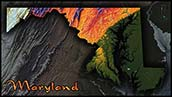 Topographic Physical Wall Map of Maryland