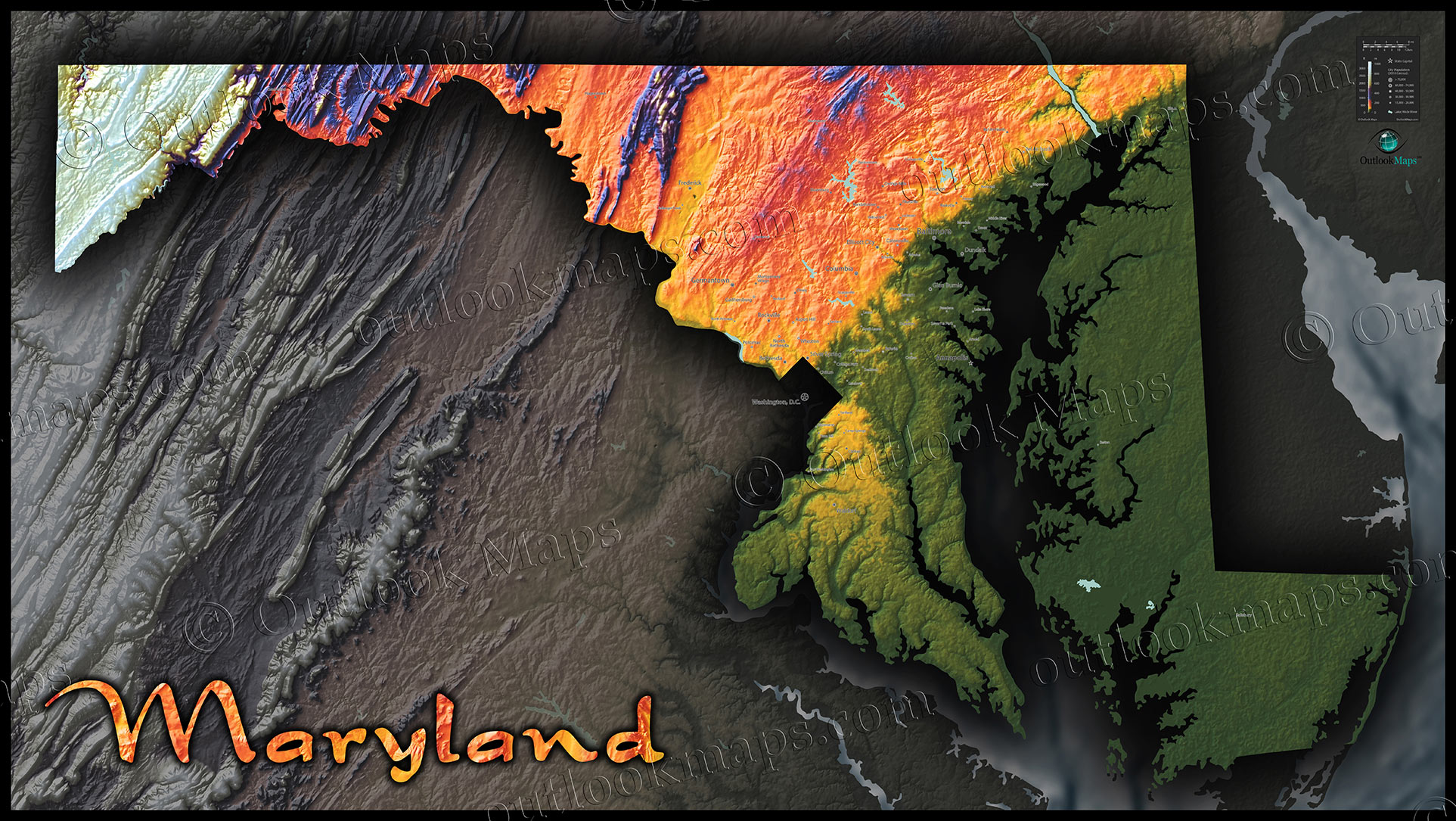 Maryland Topography Map  Colorizing Terrain By Elevation