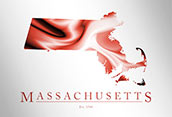 Artistic Poster of Massachusetts Map