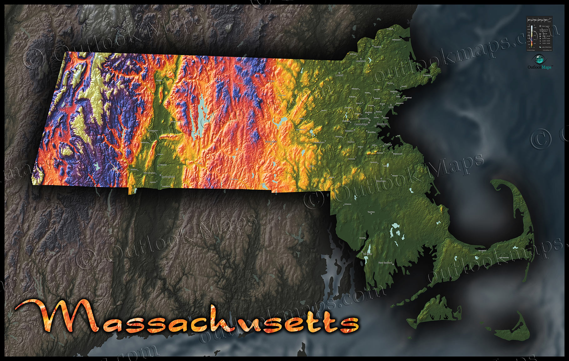 Massachusetts Map Colorful D Topography Of Natural Terrain - Massachusetts physical map
