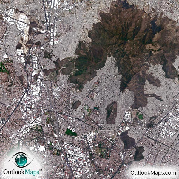 Mexico City Satellite Map Print Aerial Image Poster