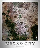 Aerial Image Satellite Map of Mexico City Poster