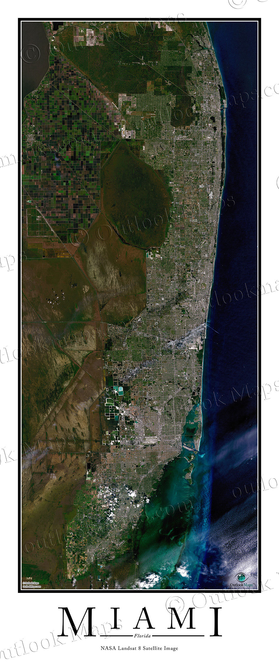 Miami FL Area Satellite Map Print Aerial Image Poster - Florida map miami area