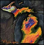 Michigan Topographic Physical Wall Map
