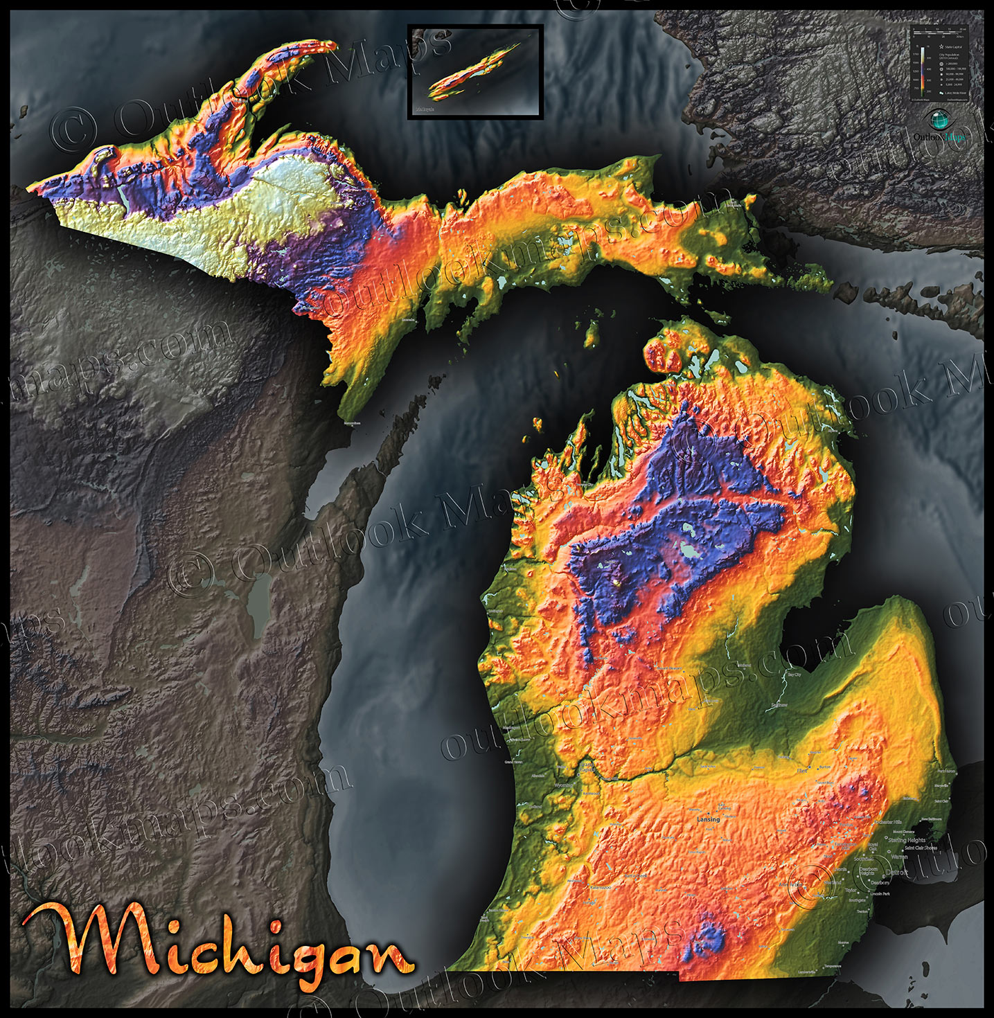 Topographic Map Of Michigan Physical Terrain In Bold Colors - Topographic map of the world