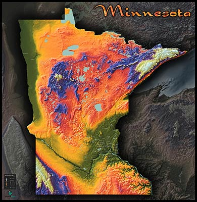 Topographic Physical Wall Map of Minnesota