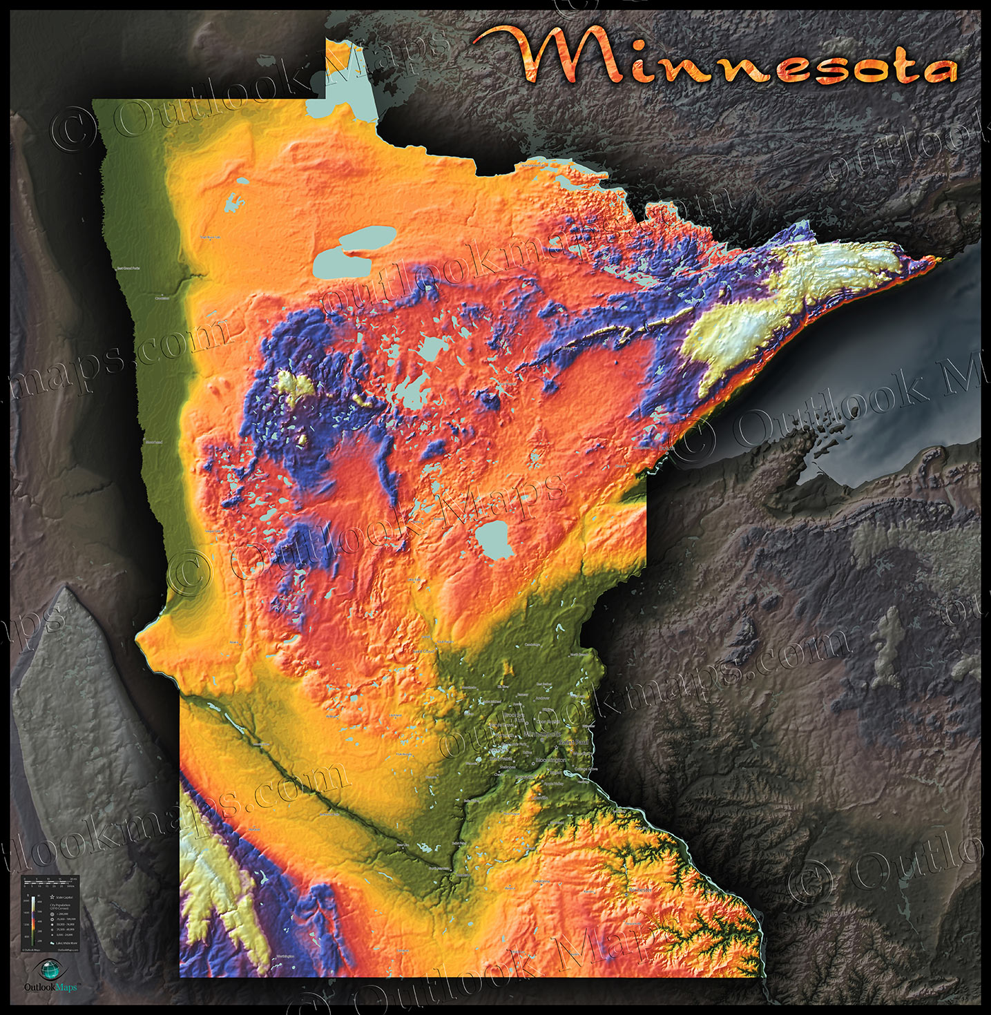 Colorful Minnesota Topography Map | 3D Physical Terrain