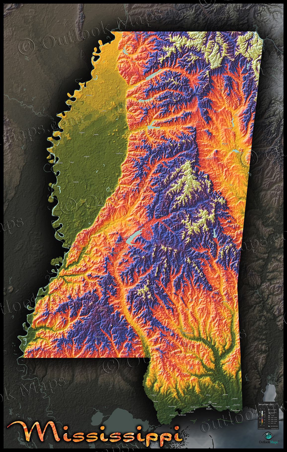 Mississippi Wall Map Colorful Artistic Topographic Style - Maps mississippi