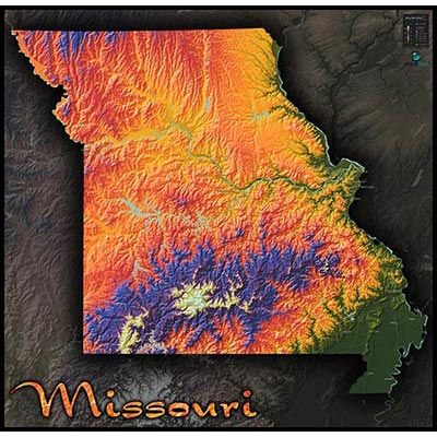 Ozark Mountains Topographic Map.Missouri Colorful Topography Physical Map Of Natural Features