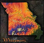 Topographic Physical Wall Map of Missouri