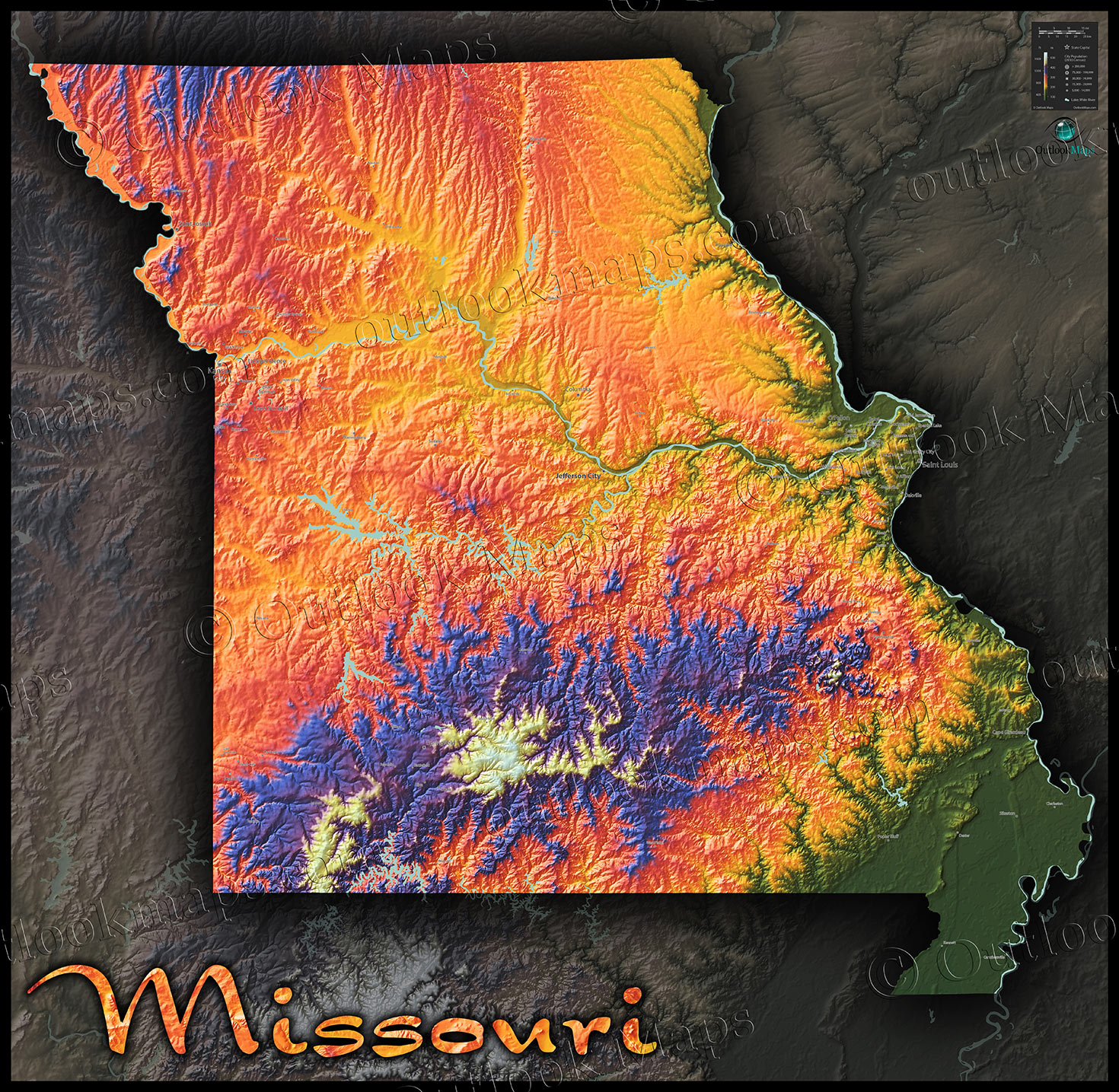 Missouri Colorful Topography Physical Map Of Natural Features