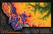 Topographic Montana Physical Wall Map