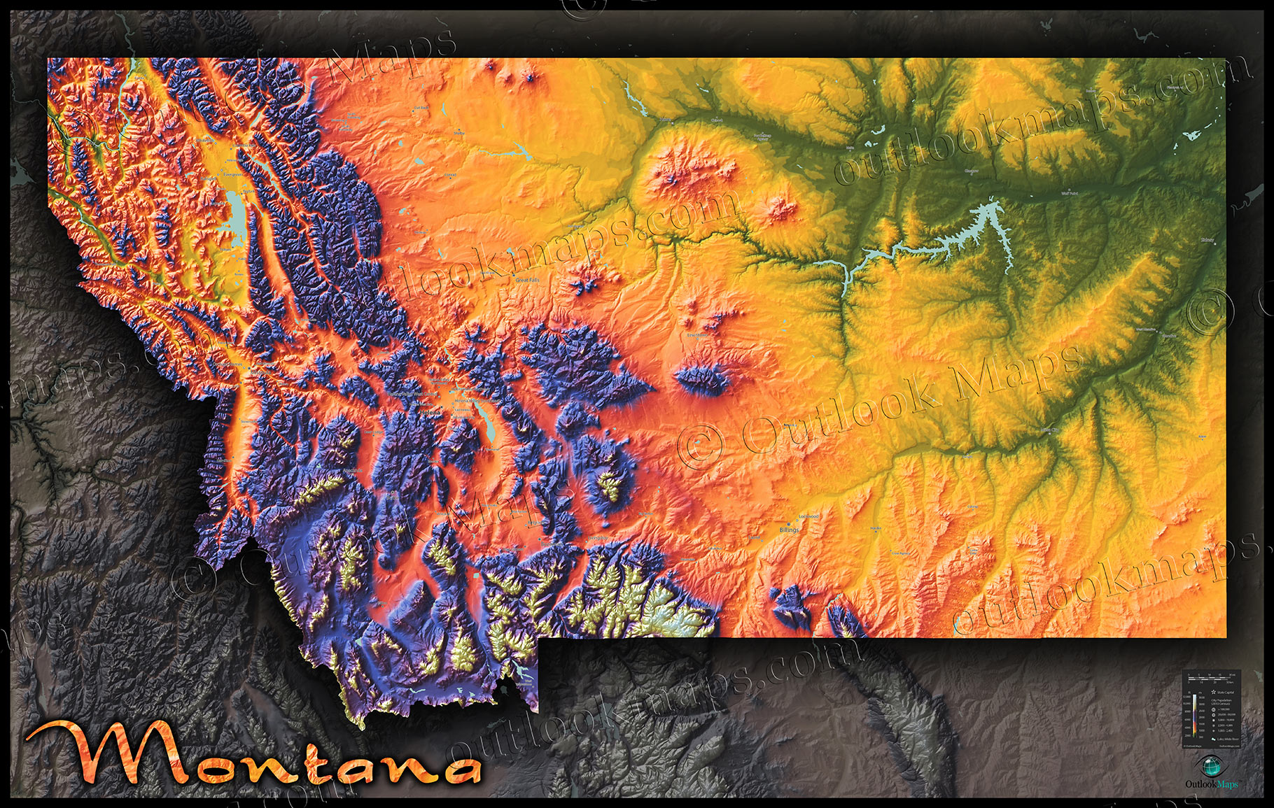 Montana Topography Map Physical Style With Colorful Mountains