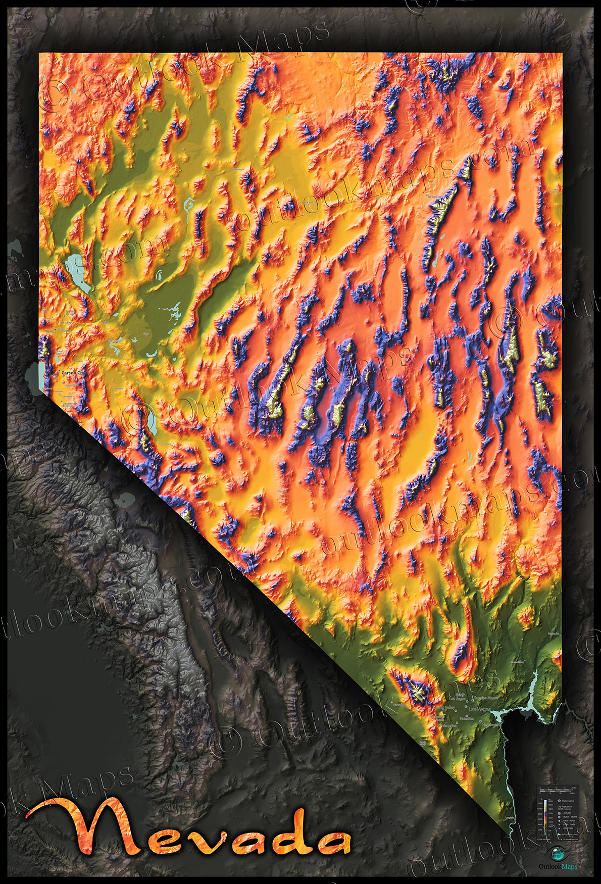 Topographic Map Of Nevada.Nevada Physical Features Map Artistic Topography Mountains