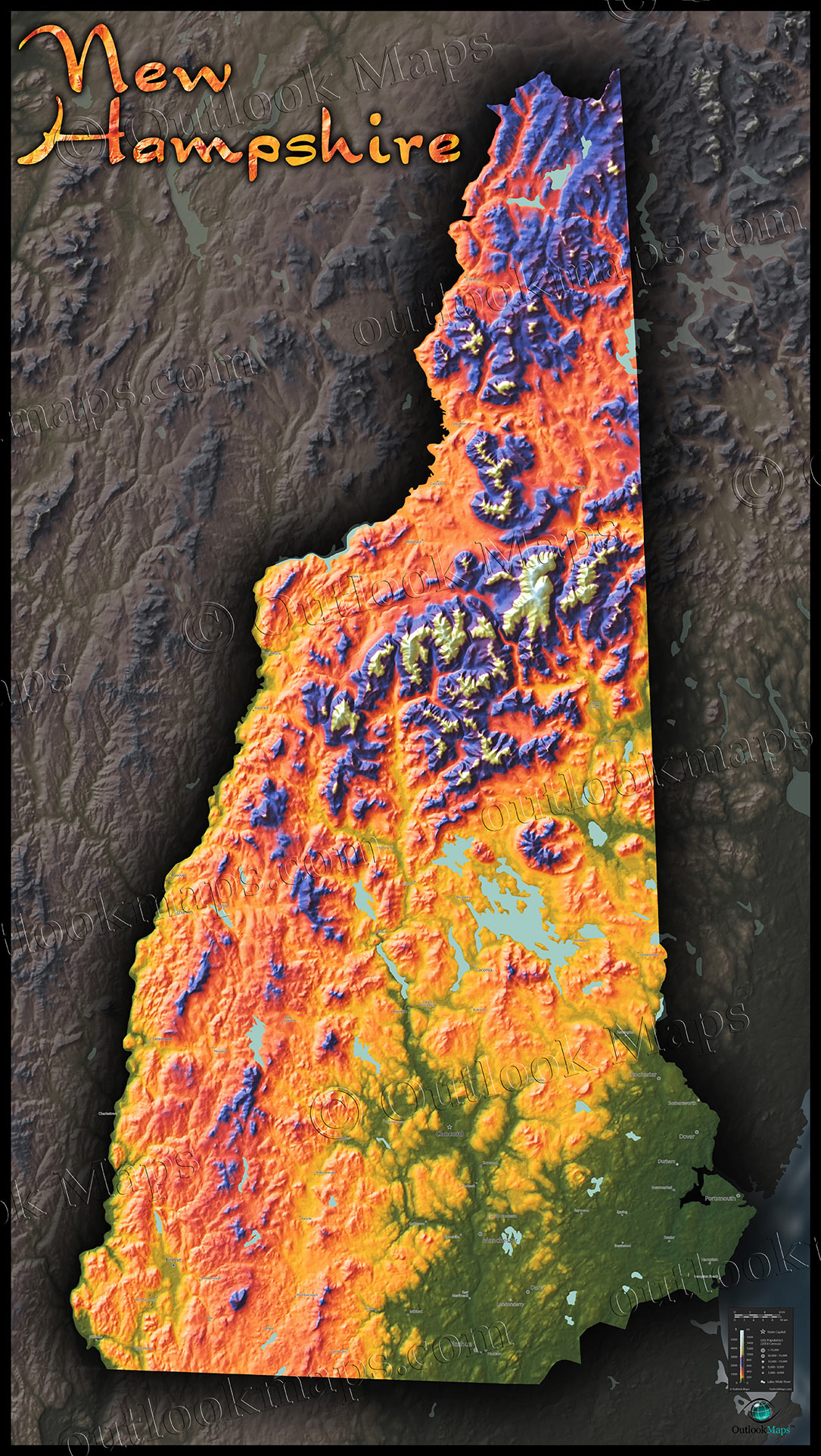 New Hampshire Topography Map Physical Terrain Amp Mountains