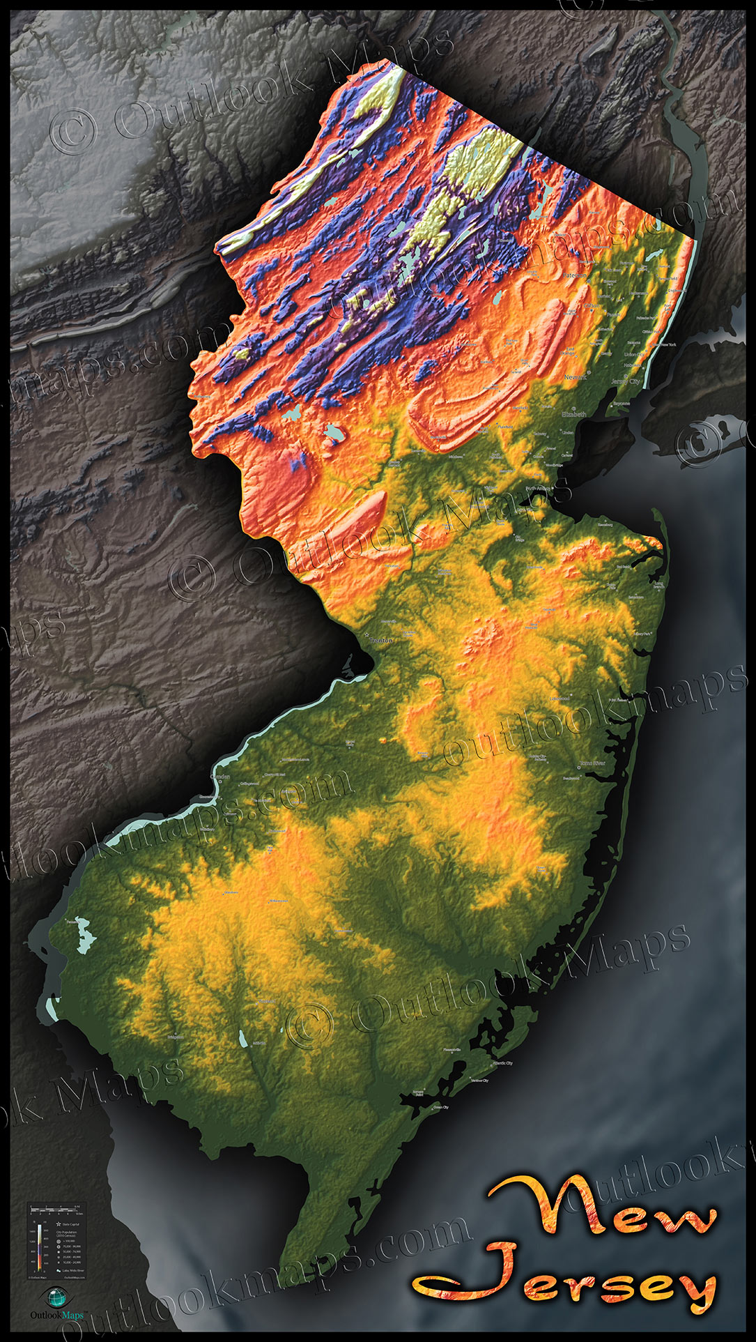 topographic map new jersey New Jersey Topography Map Colorized Terrain By Elevation