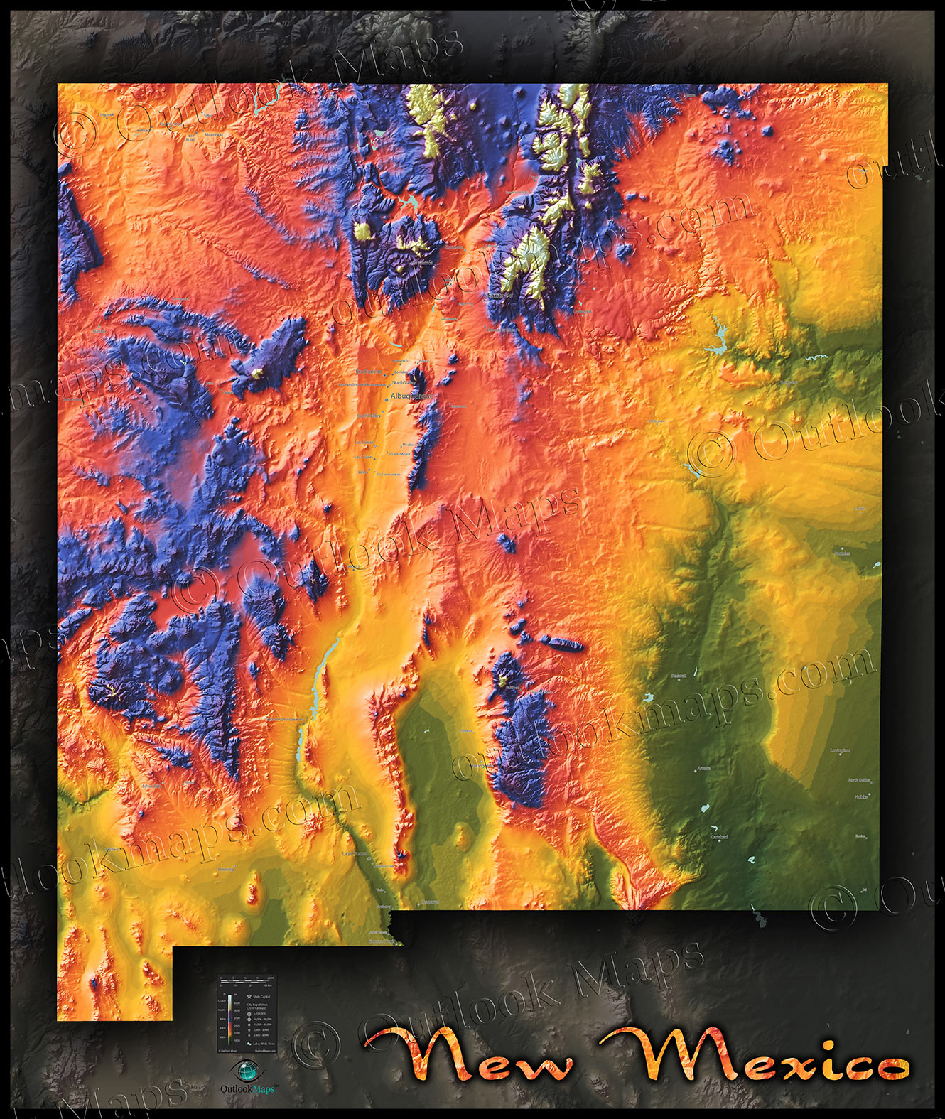 Topographical New Mexico State Map | Colorful Physical Terrain