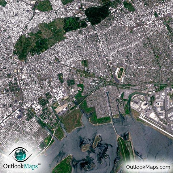 New York City Area Satellite Map Print   Aerial Image Poster