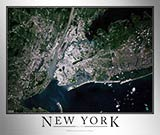 Aerial Image Satellite Map of New York City Area Poster