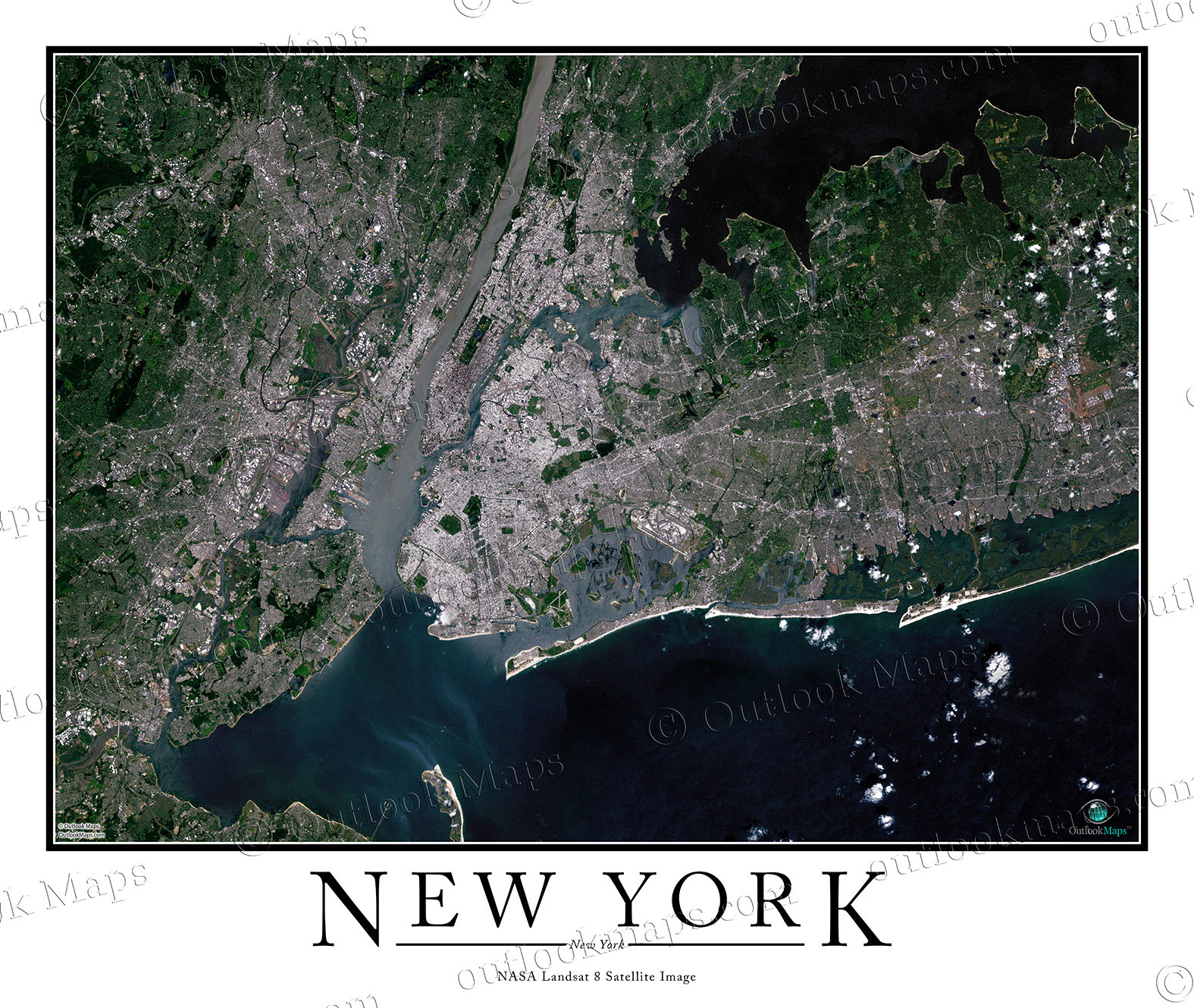 Detailed Map Of New York City.New York City Area Satellite Map