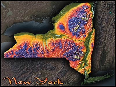 New York Topographic Physical Wall Map