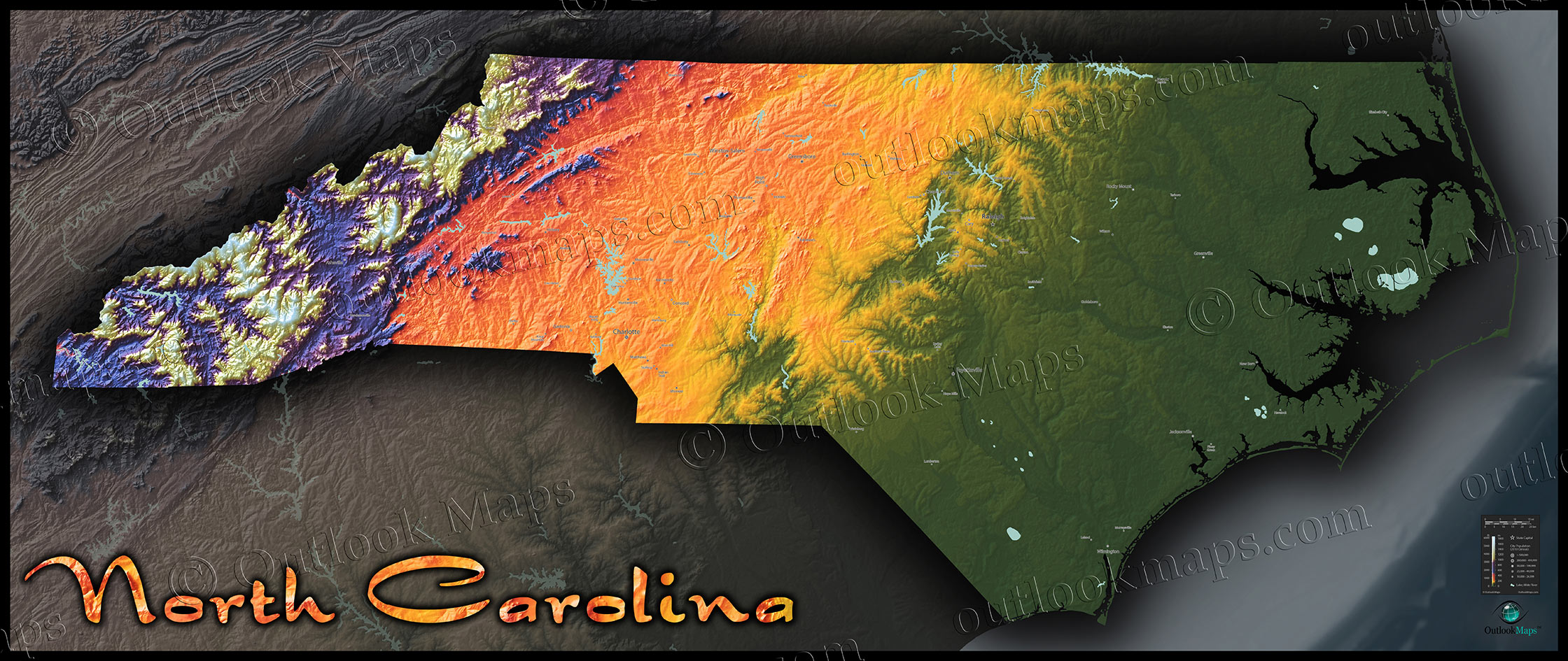 Map Of North Carolina Topographic Style Of Physical