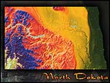 Physical Wall Map of North Dakota Topography